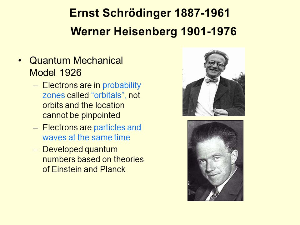 Ernst Schrödinger 1887-1961 Quantum Mechanical Model 1926 –Electrons are in probability zones called orbitals , not orbits and the location cannot be pinpointed –Electrons are particles and waves at the same time –Developed quantum numbers based on theories of Einstein and Planck Werner Heisenberg 1901-1976
