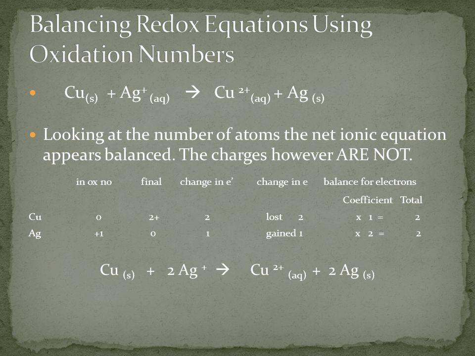 Cu (s) + Ag + (aq)  Cu 2+ (aq) + Ag (s) Looking at the number of atoms the net ionic equation appears balanced.