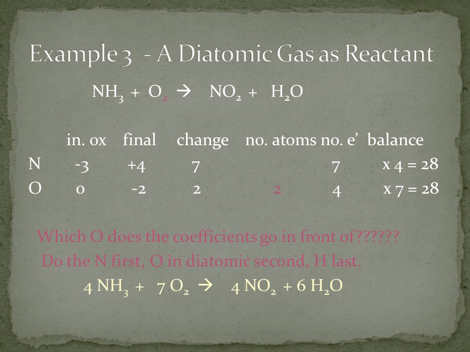 NH 3 + O 2  NO 2 + H 2 O in.ox final change no. atoms no.