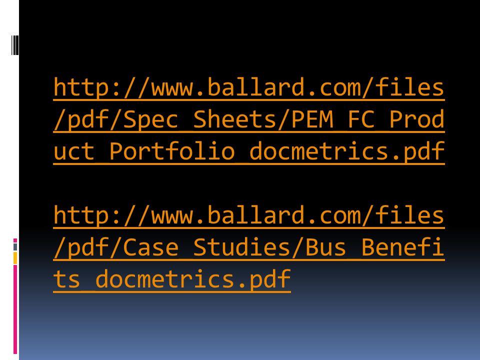 http://www.ballard.com/files /pdf/Spec_Sheets/PEM_FC_Prod uct_Portfolio_docmetrics.pdf http://www.ballard.com/files /pdf/Case_Studies/Bus_Benefi ts_docmetrics.pdf