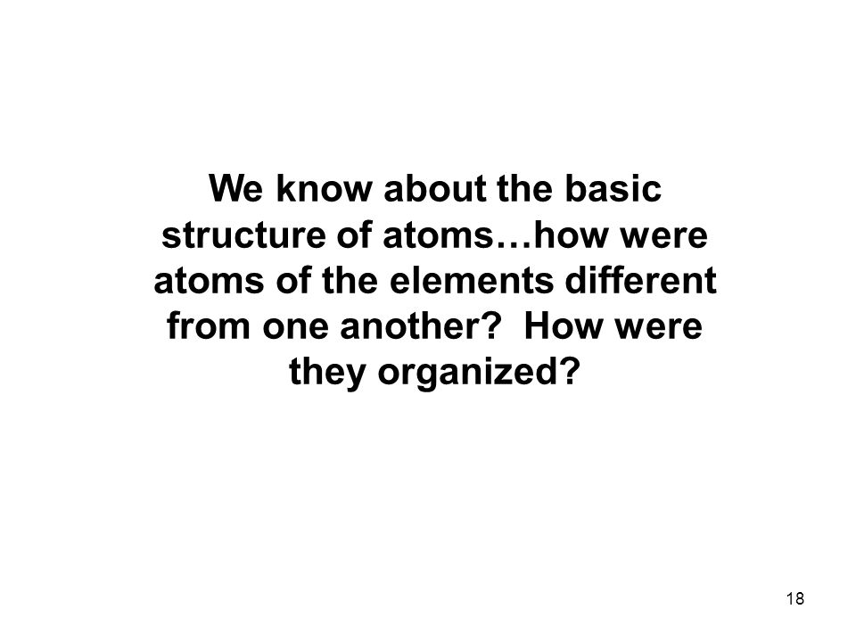 18 We know about the basic structure of atoms…how were atoms of the elements different from one another.