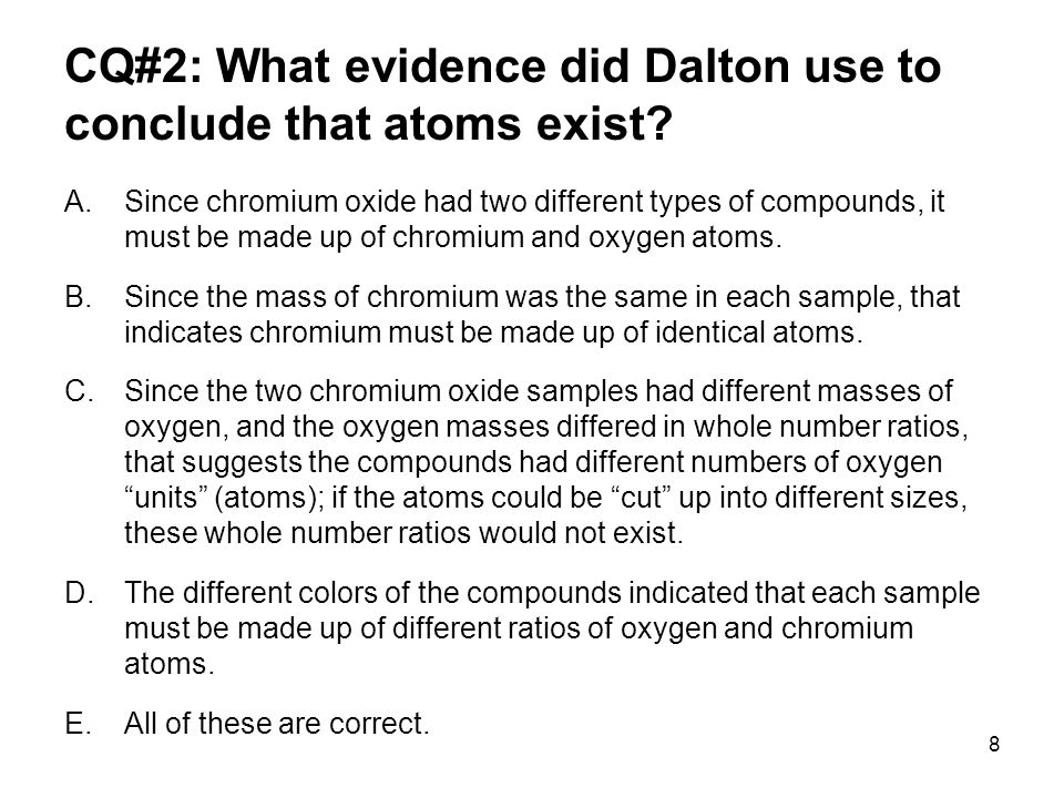 19 Relative Atomic Mass Example: H 2 O In the late 1700's and 1800's, scientists such as Dalton were able to determine experimentally that when water formed, it took two parts of hydrogen by volume and one part of oxygen by volume.