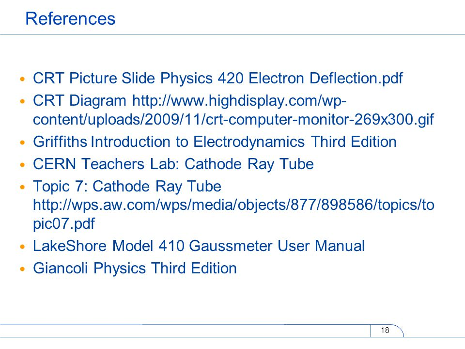 CRT Picture Slide Physics 420 Electron Deflection.pdf CRT Diagram http://www.highdisplay.com/wp- content/uploads/2009/11/crt-computer-monitor-269x300.