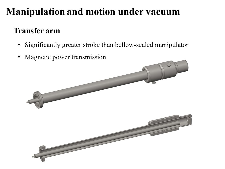 Transfer arm Manipulation and motion under vacuum Significantly greater stroke than bellow-sealed manipulator Magnetic power transmission