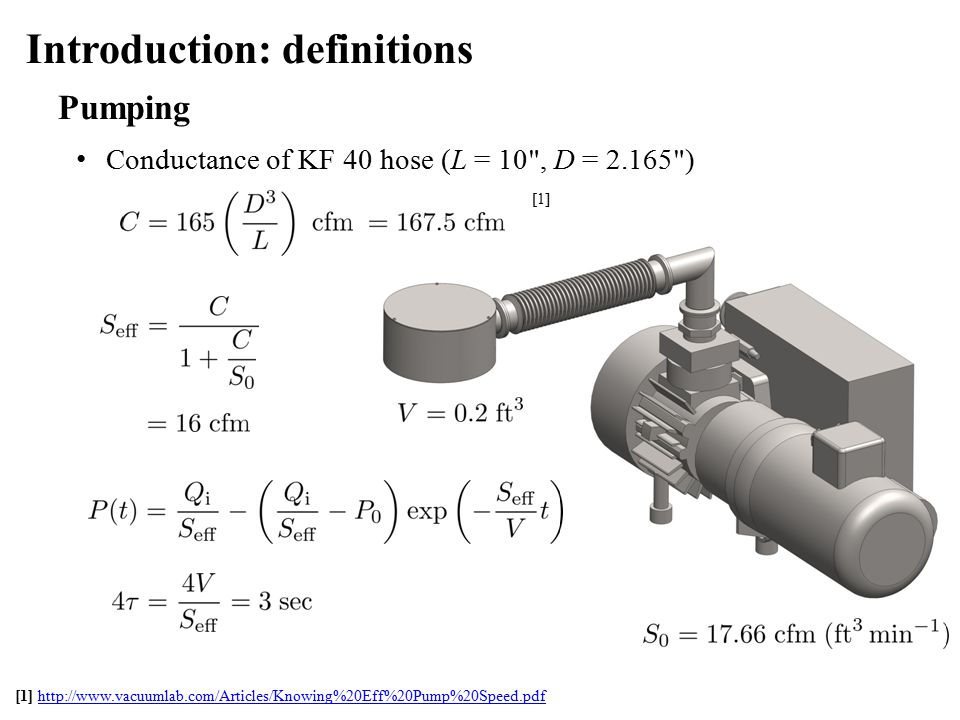 Pumping Conductance of KF 40 hose (L = 10 , D = 2.165 ) Introduction: definitions [1] http://www.vacuumlab.com/Articles/Knowing%20Eff%20Pump%20Speed.pdfhttp://www.vacuumlab.com/Articles/Knowing%20Eff%20Pump%20Speed.pdf [1]