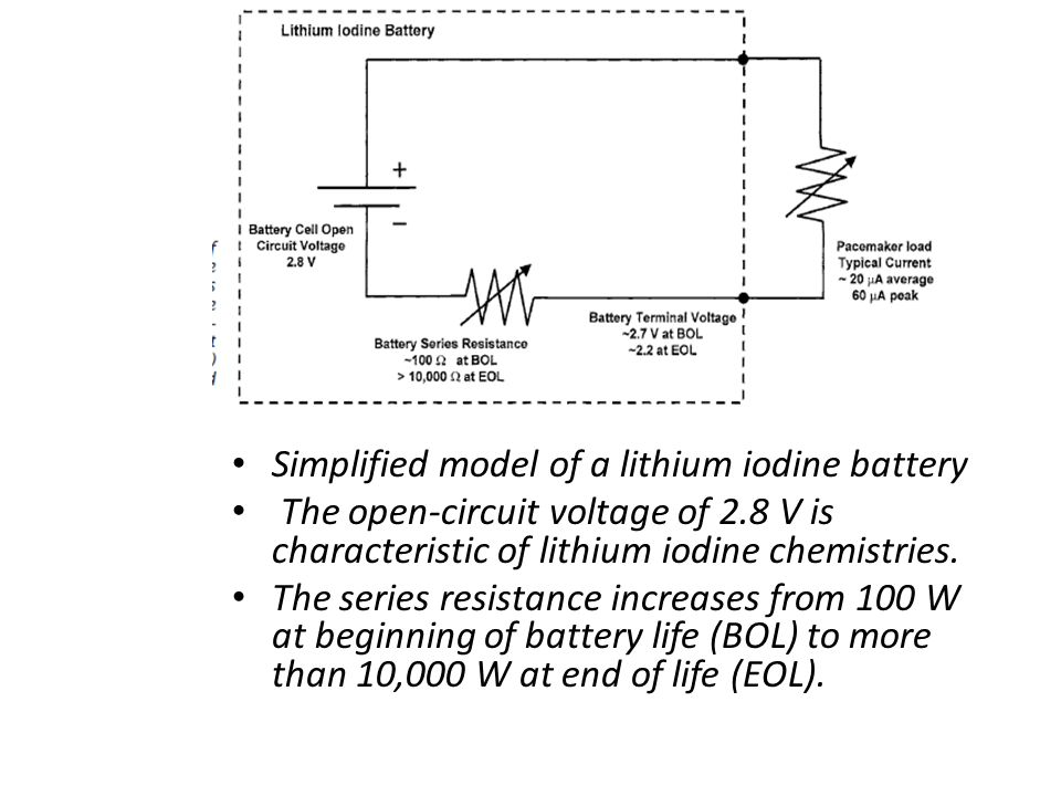 Simplified model of a lithium iodine battery The open-circuit voltage of 2.8 V is characteristic of lithium iodine chemistries. The series resistance