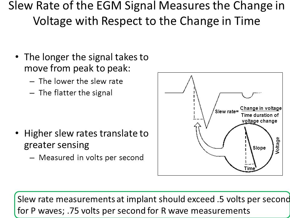 Slew Rate of the EGM Signal Measures the Change in Voltage with Respect to the Change in Time The longer the signal takes to move from peak to peak: –