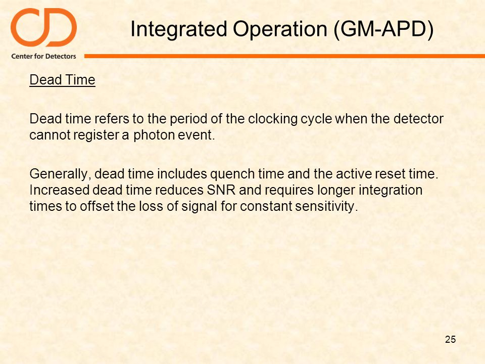 Integrated Operation (GM-APD) Dead Time Dead time refers to the period of the clocking cycle when the detector cannot register a photon event. General