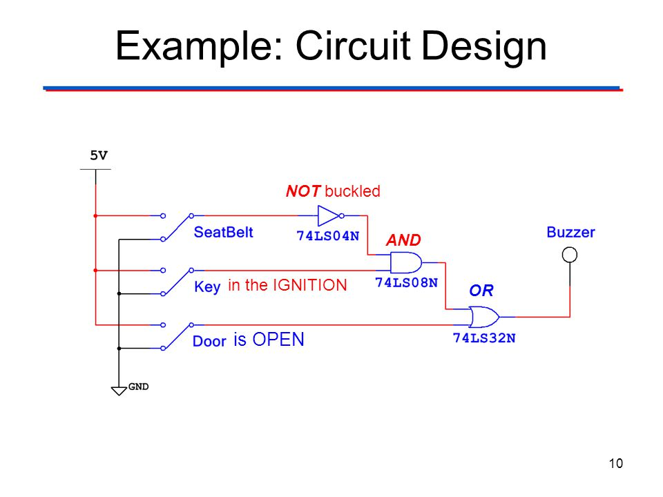 Example: Circuit Design 10 NOT buckled in the IGNITION is OPEN AND OR