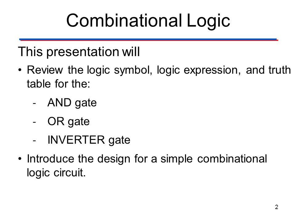 Combinational & Sequential Logic 23 Combinational Logic Gates InputsOutputs............