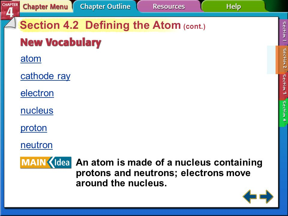 Section 4-2 Section 4.2 Defining the Atom Define atom.
