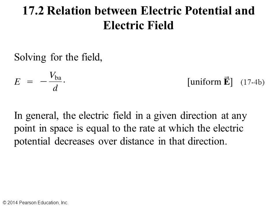 Solving for the field, In general, the electric field in a given direction at any point in space is equal to the rate at which the electric potential decreases over distance in that direction.