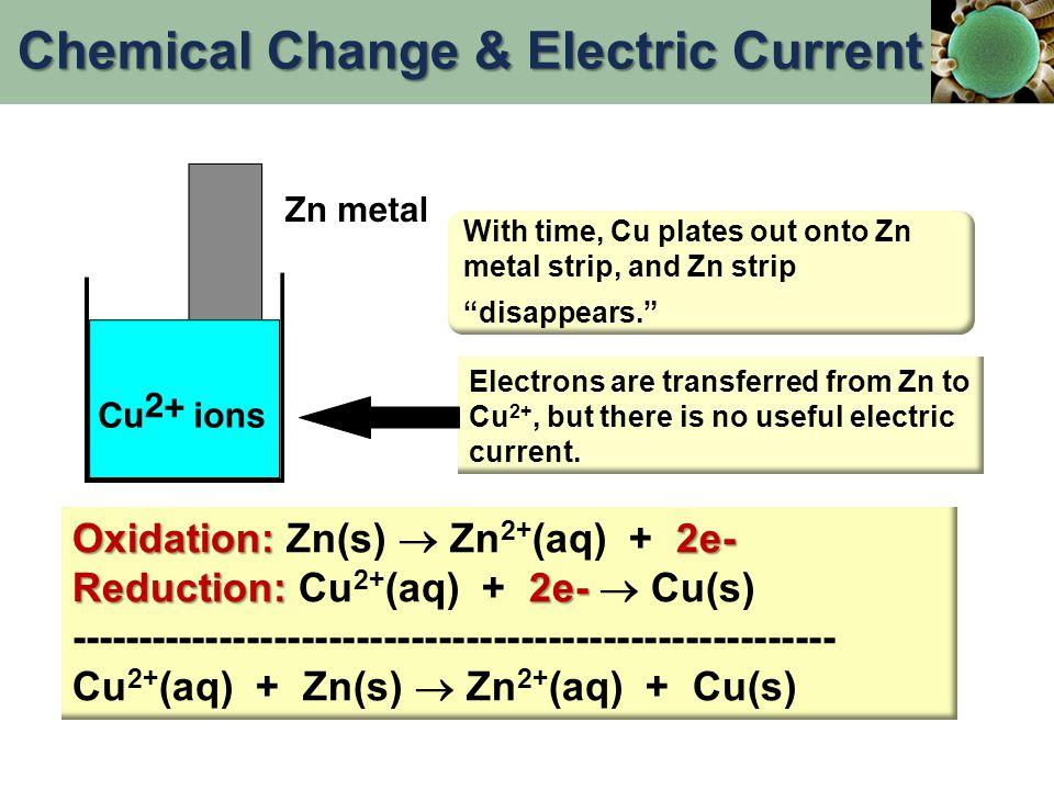 Oxidation: 2e- Oxidation: Zn(s)  Zn 2+ (aq) + 2e- Reduction: 2e- Reduction: Cu 2+ (aq) + 2e-  Cu(s) ------------------------------------------------
