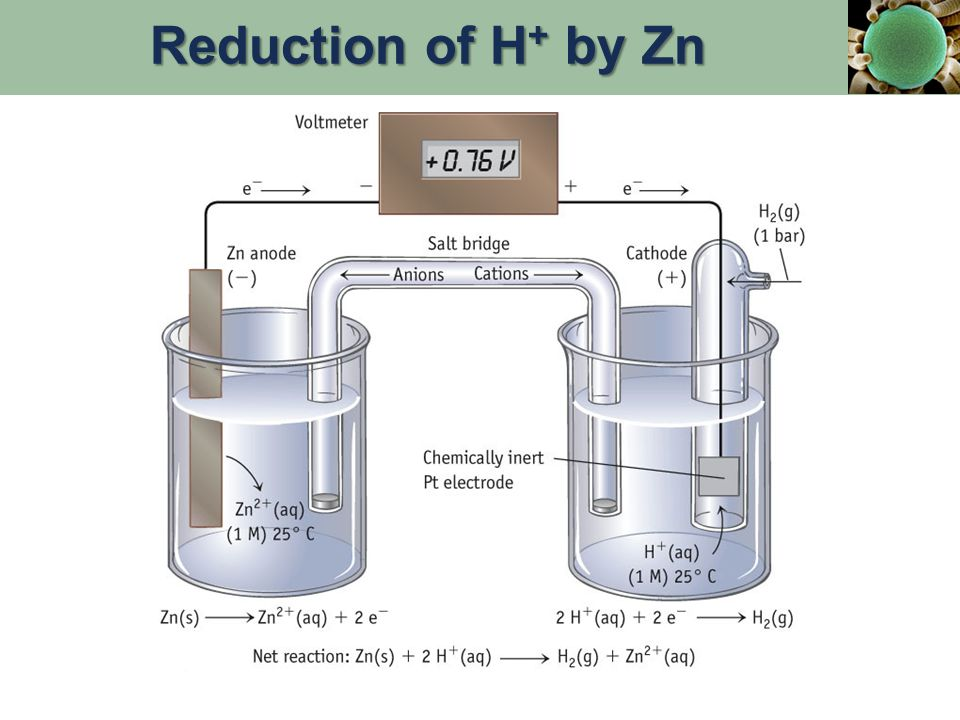 Reduction of H + by Zn