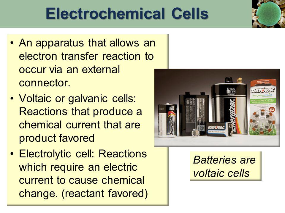 Anode (-): E° = +0.36 V Pb(s) + HSO 4 - (aq)  PbSO 4 (aq)+ H + (aq) + 2e- Cathode (+): E° = +1.68 V PbO 2 (s) + HSO 4 - (aq) + 3H + (aq) + 2e-  PbSO 4 (aq) + 2H 2 O(l) Lead Storage Battery