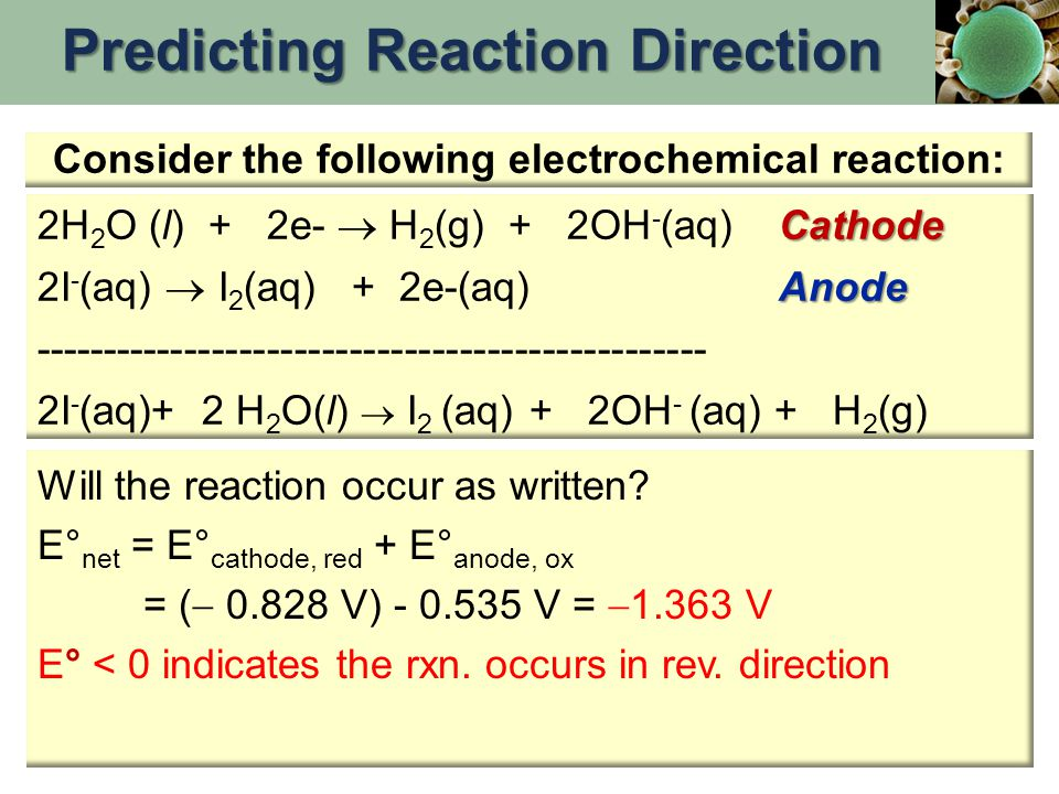 Predicting Reaction Direction Consider the following electrochemical reaction: Cathode 2H 2 O (l) + 2e-  H 2 (g) + 2OH - (aq)Cathode Anode 2I - (aq)