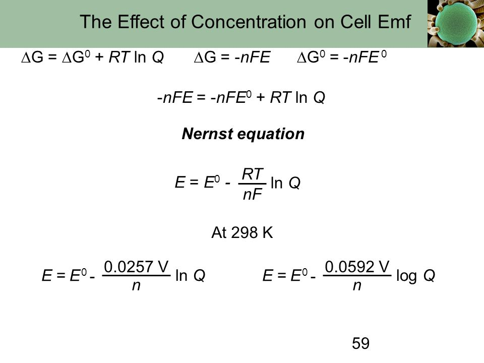 59 The Effect of Concentration on Cell Emf  G =  G 0 + RT ln Q  G = -nFE  G 0 = -nFE 0 -nFE = -nFE 0 + RT ln Q E = E 0 - ln Q RT nF Nernst equatio