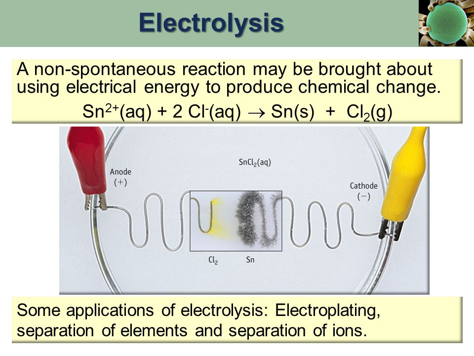 A non-spontaneous reaction may be brought about using electrical energy to produce chemical change.