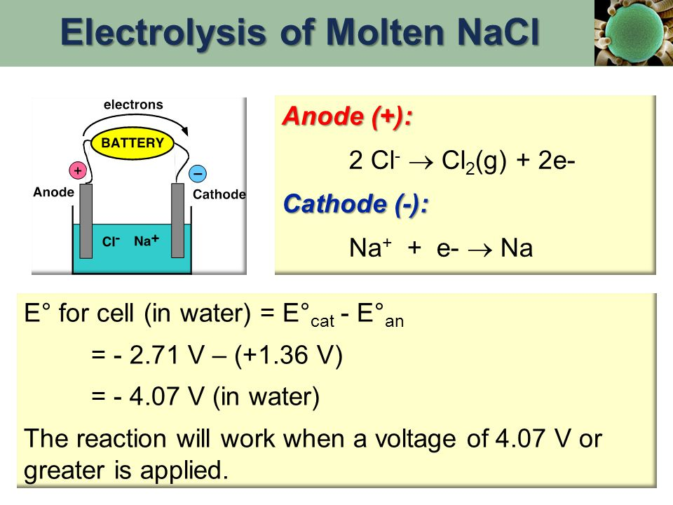 Anode (+): 2 Cl -  Cl 2 (g) + 2e- Cathode (-): Na + + e-  Na E° for cell (in water) = E° cat - E° an = - 2.71 V – (+1.36 V) = - 4.07 V (in water) The reaction will work when a voltage of 4.07 V or greater is applied.