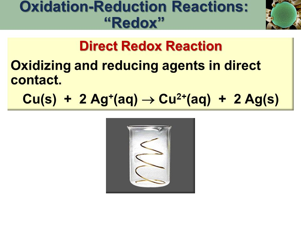 """Direct Redox Reaction Oxidizing and reducing agents in direct contact. Cu(s) + 2 Ag + (aq)  Cu 2+ (aq) + 2 Ag(s) Oxidation-Reduction Reactions: """"Redo"""