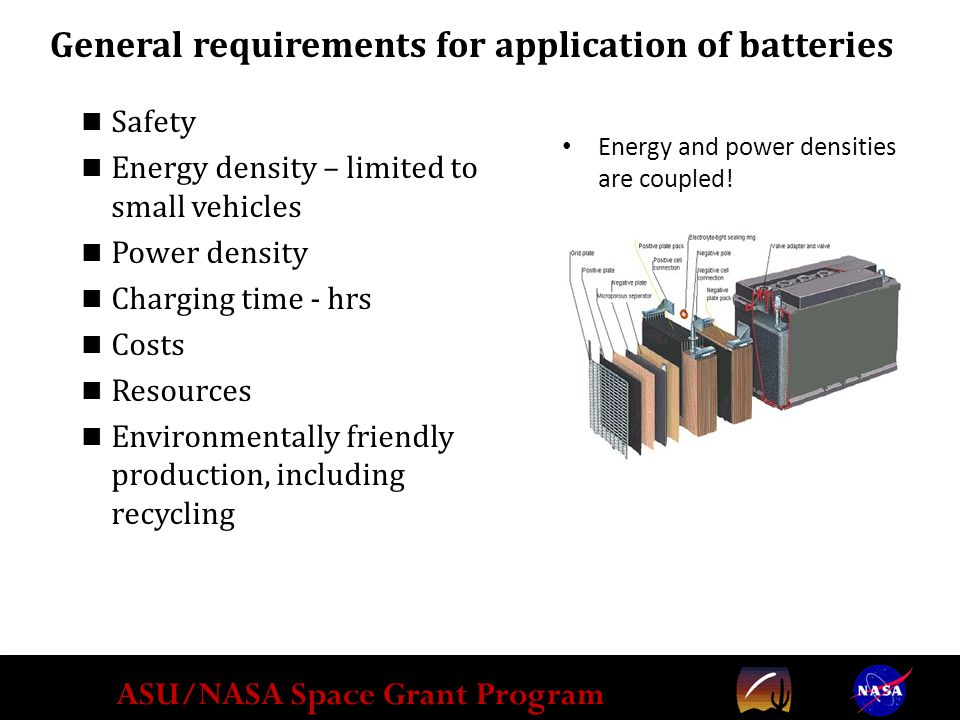 ASU/NASA Space Grant Program Energy and power densities are coupled.