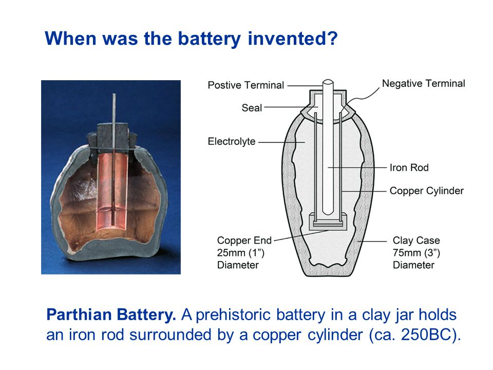 When was the battery invented? Parthian Battery. A prehistoric battery in a clay jar holds an iron rod surrounded by a copper cylinder (ca. 250BC).