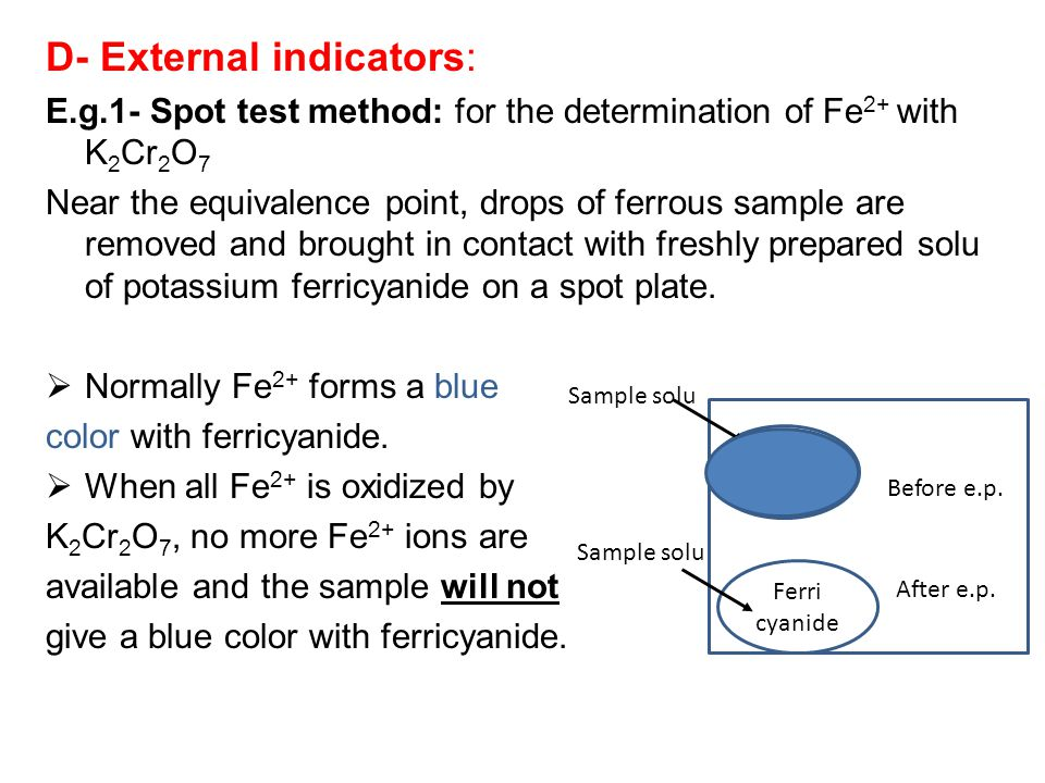 D- External indicators: E.g.1- Spot test method: for the determination of Fe 2+ with K 2 Cr 2 O 7 Near the equivalence point, drops of ferrous sample