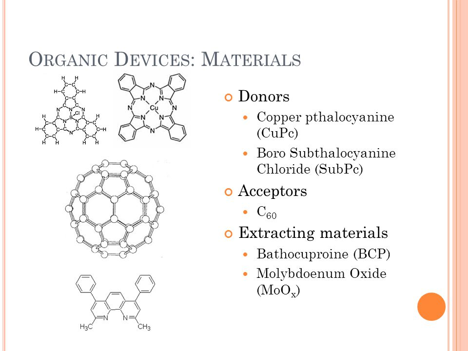 O RGANIC D EVICES : M ATERIALS Donors Copper pthalocyanine (CuPc) Boro Subthalocyanine Chloride (SubPc) Acceptors C 60 Extracting materials Bathocuproine (BCP) Molybdoenum Oxide (MoO x )