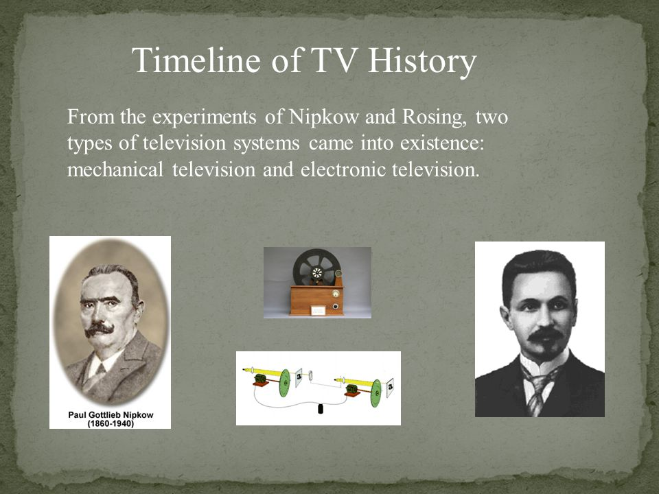 Timeline of TV History From the experiments of Nipkow and Rosing, two types of television systems came into existence: mechanical television and elect