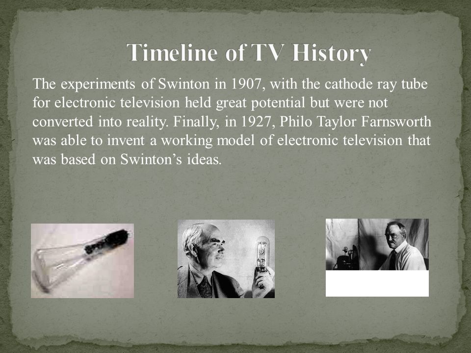 The experiments of Swinton in 1907, with the cathode ray tube for electronic television held great potential but were not converted into reality. Fina