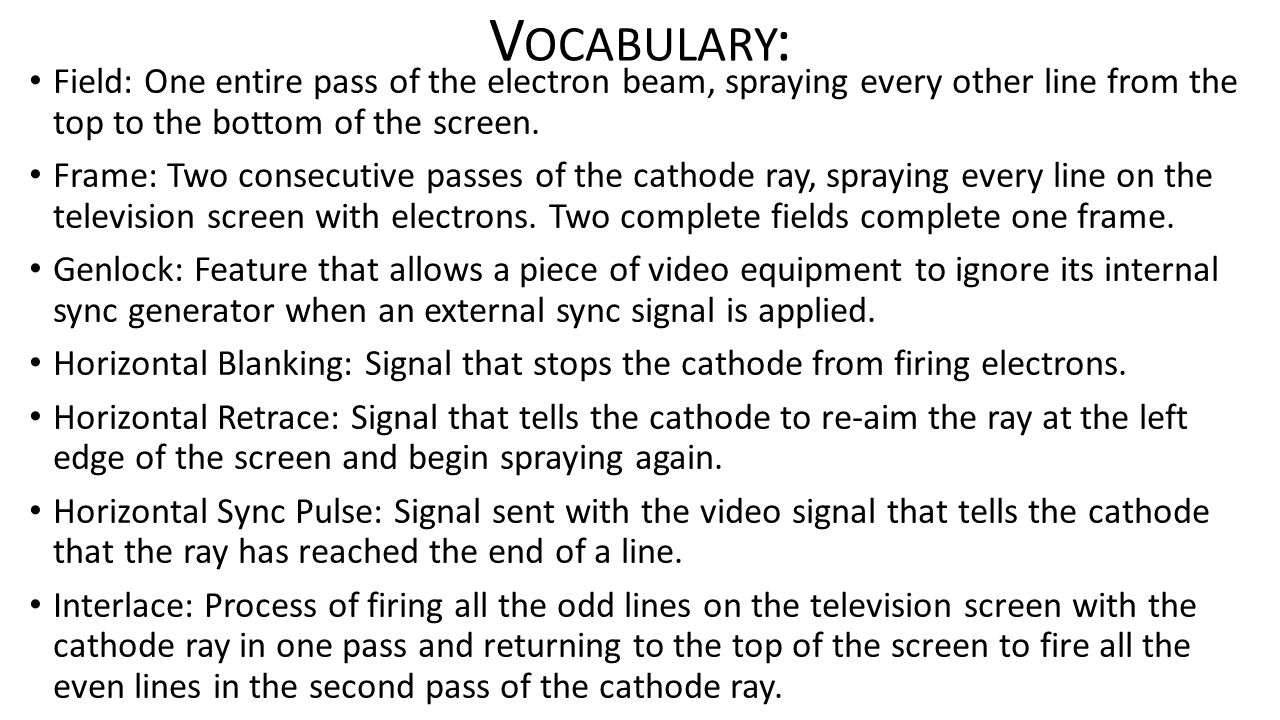 V OCABULARY : Field: One entire pass of the electron beam, spraying every other line from the top to the bottom of the screen.