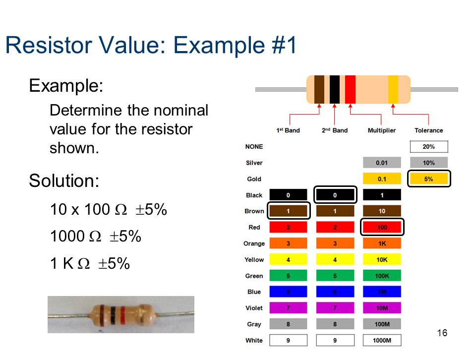 Resistor Value: Example #1 Example: Determine the nominal value for the resistor shown.