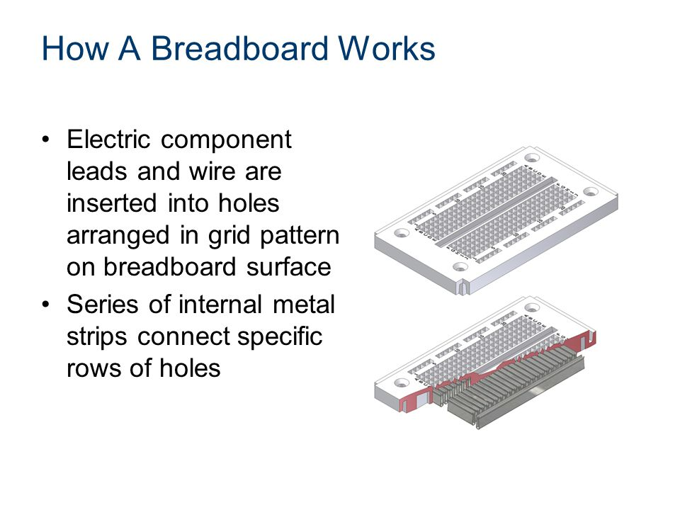 How A Breadboard Works Electric component leads and wire are inserted into holes arranged in grid pattern on breadboard surface Series of internal metal strips connect specific rows of holes