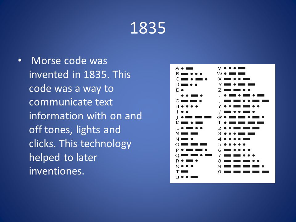1835 Morse code was invented in 1835.