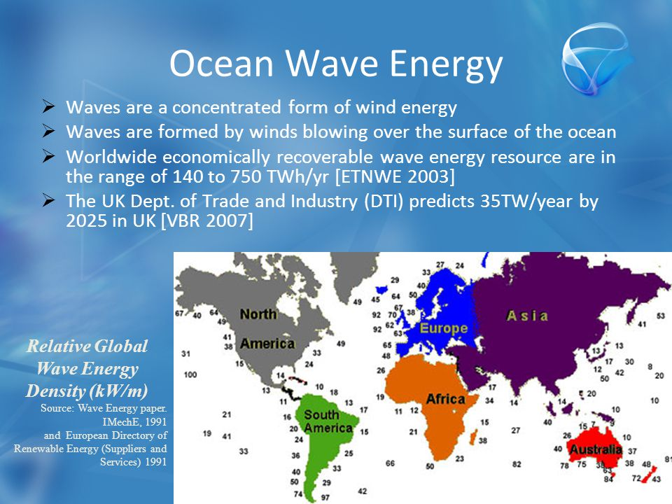 Ocean Wave Energy  Waves are a concentrated form of wind energy  Waves are formed by winds blowing over the surface of the ocean  Worldwide economically recoverable wave energy resource are in the range of 140 to 750 TWh/yr [ETNWE 2003]  The UK Dept.