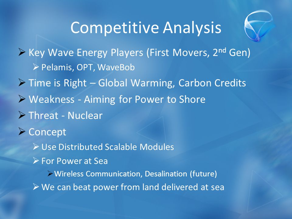 Competitive Analysis  Key Wave Energy Players (First Movers, 2 nd Gen)  Pelamis, OPT, WaveBob  Time is Right – Global Warming, Carbon Credits  Weakness - Aiming for Power to Shore  Threat - Nuclear  Concept  Use Distributed Scalable Modules  For Power at Sea  Wireless Communication, Desalination (future)  We can beat power from land delivered at sea