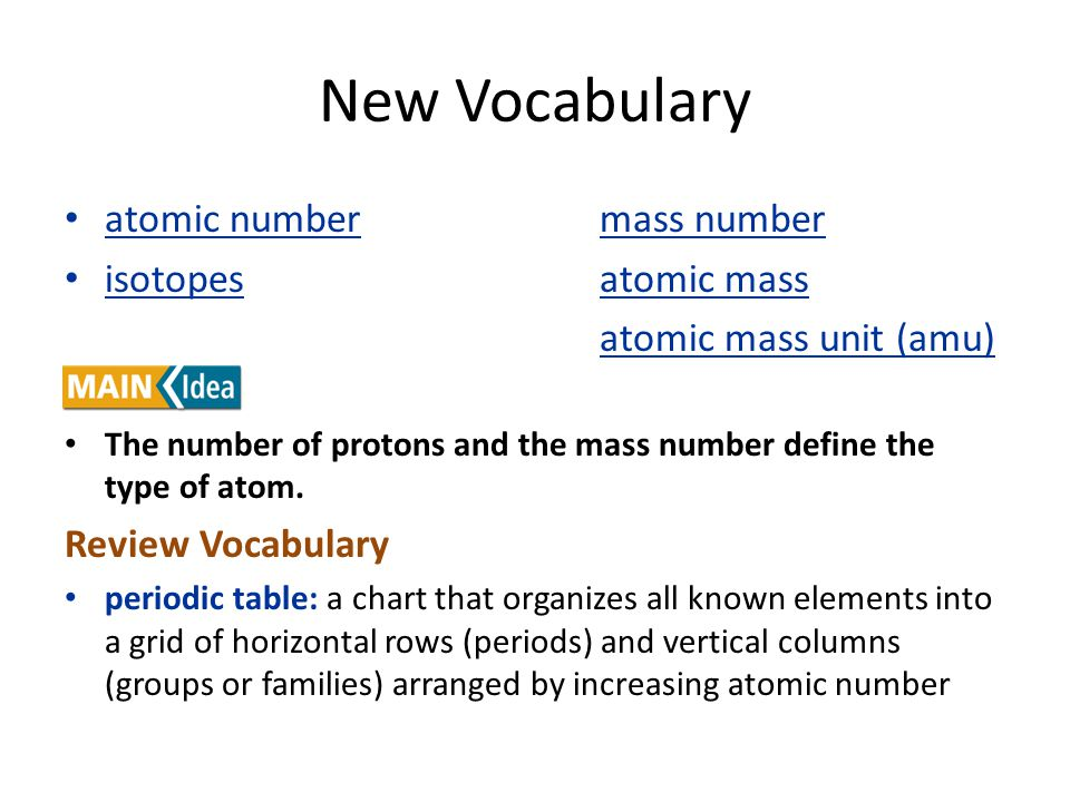 New Vocabulary atomic numbermass number isotopesatomic mass atomic mass unit (amu) The number of protons and the mass number define the type of atom.