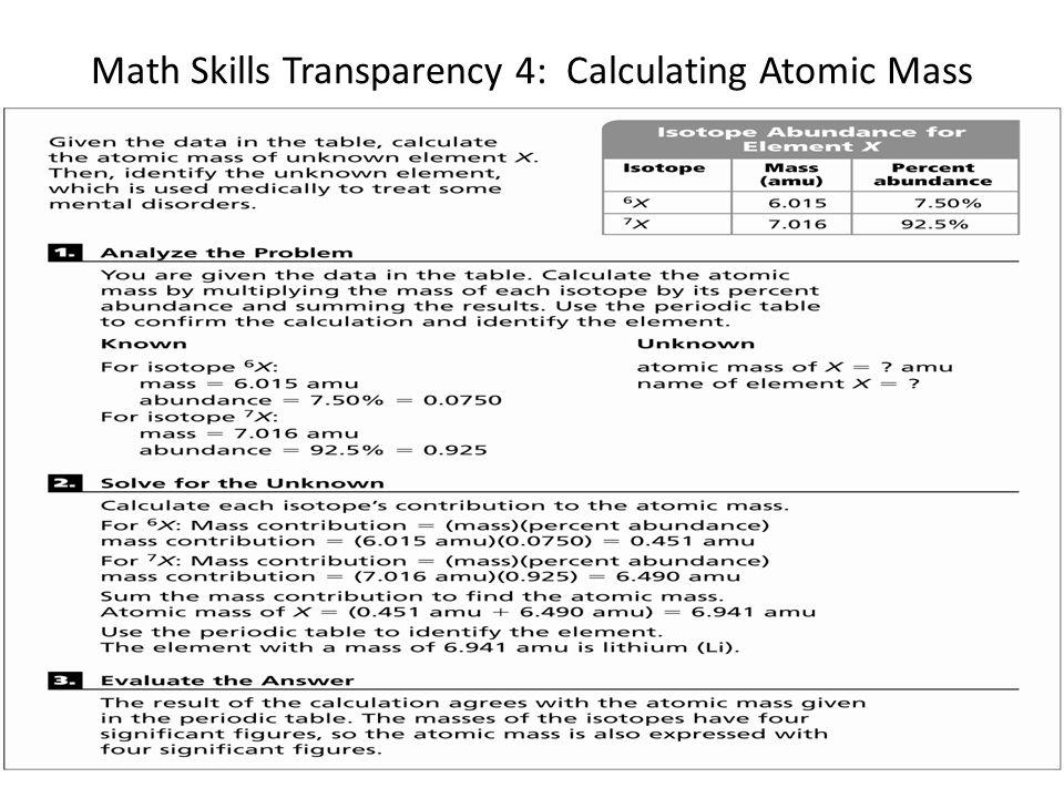 Math Skills Transparency 4: Calculating Atomic Mass