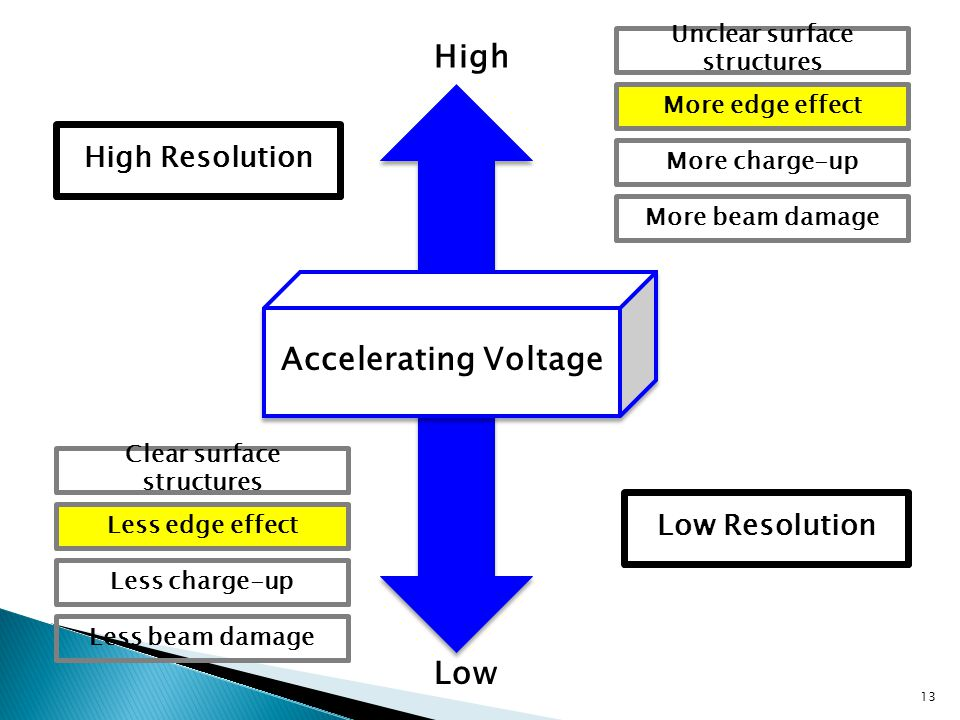 13 Accelerating Voltage High Low High Resolution Low Resolution Unclear surface structures More edge effect More beam damage More charge-up Clear surface structures Less edge effect Less beam damage Less charge-up