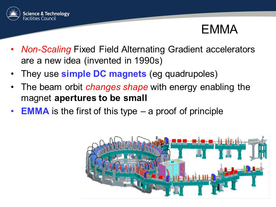EMMA Non-Scaling Fixed Field Alternating Gradient accelerators are a new idea (invented in 1990s) They use simple DC magnets (eg quadrupoles) The beam orbit changes shape with energy enabling the magnet apertures to be small EMMA is the first of this type – a proof of principle