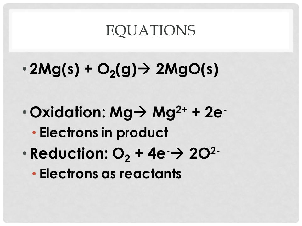 CON'T For oxidation half-equation, electrons will be on left hand side For reduction half-equation, electrons will be on right hand side Use a similar process to determine each type of half- equation