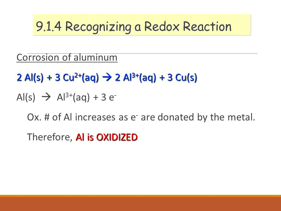 9.1.4 Recognizing a Redox Reaction Corrosion of aluminum 2 Al(s) + 3 Cu 2+ (aq)  2 Al 3+ (aq) + 3 Cu(s) Al(s)  Al 3+ (aq) + 3 e - Ox.