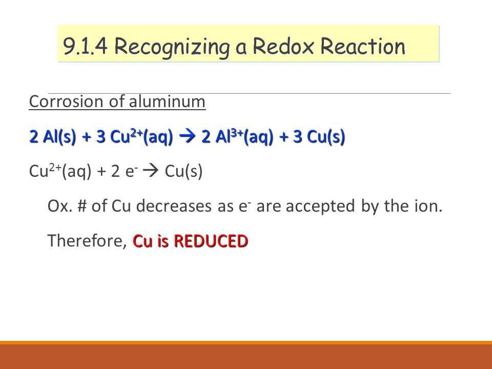 9.1.4 Recognizing a Redox Reaction Corrosion of aluminum 2 Al(s) + 3 Cu 2+ (aq)  2 Al 3+ (aq) + 3 Cu(s) Cu 2+ (aq) + 2 e -  Cu(s) Ox.