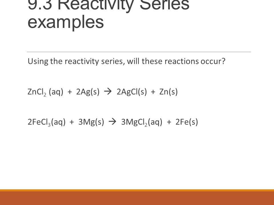 9.3 Reactivity Series examples Using the reactivity series, will these reactions occur.