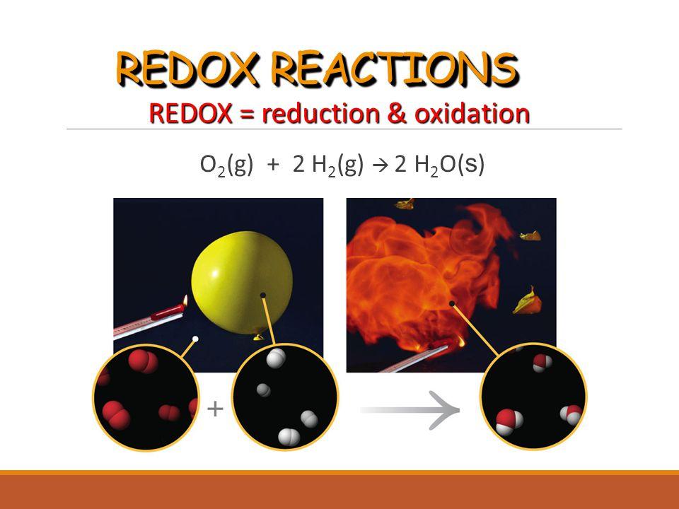REDOX REACTIONS REDOX = reduction & oxidation O 2 (g) + 2 H 2 (g)  2 H 2 O( s ) O 2 (g) + 2 H 2 (g)  2 H 2 O( s )
