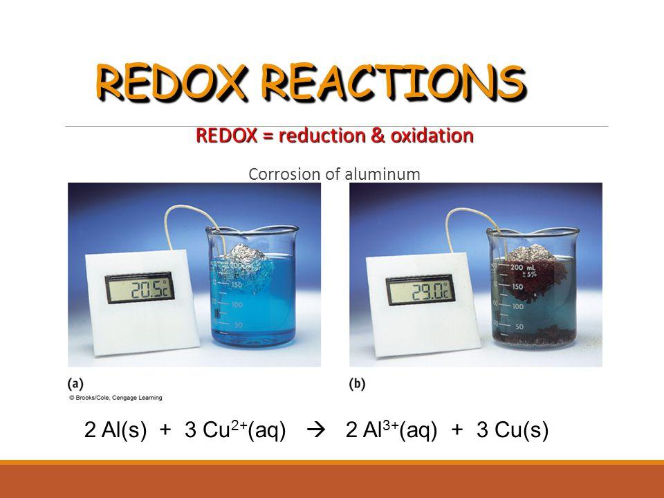 REDOX REACTIONS REDOX = reduction & oxidation Corrosion of aluminum 2 Al(s) + 3 Cu 2+ (aq)  2 Al 3+ (aq) + 3 Cu(s)