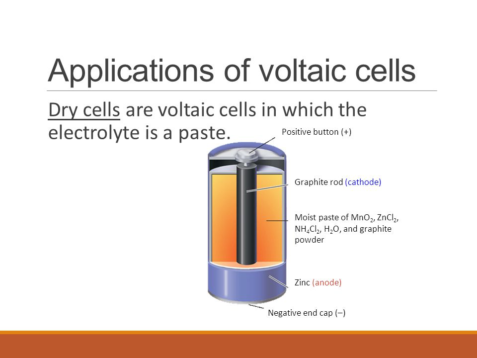 Applications of voltaic cells Dry cells are voltaic cells in which the electrolyte is a paste.