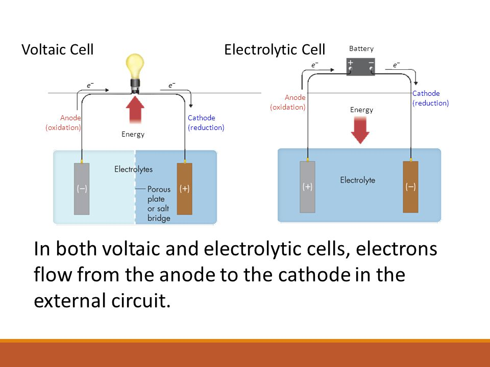 In both voltaic and electrolytic cells, electrons flow from the anode to the cathode in the external circuit.