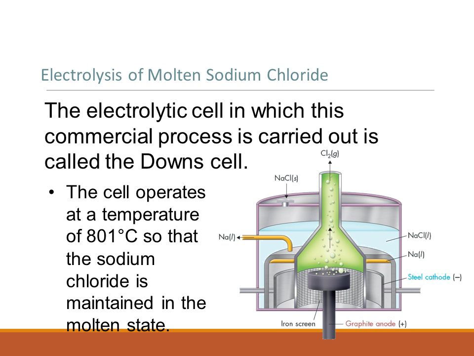 Electrolysis of Molten Sodium Chloride The electrolytic cell in which this commercial process is carried out is called the Downs cell.