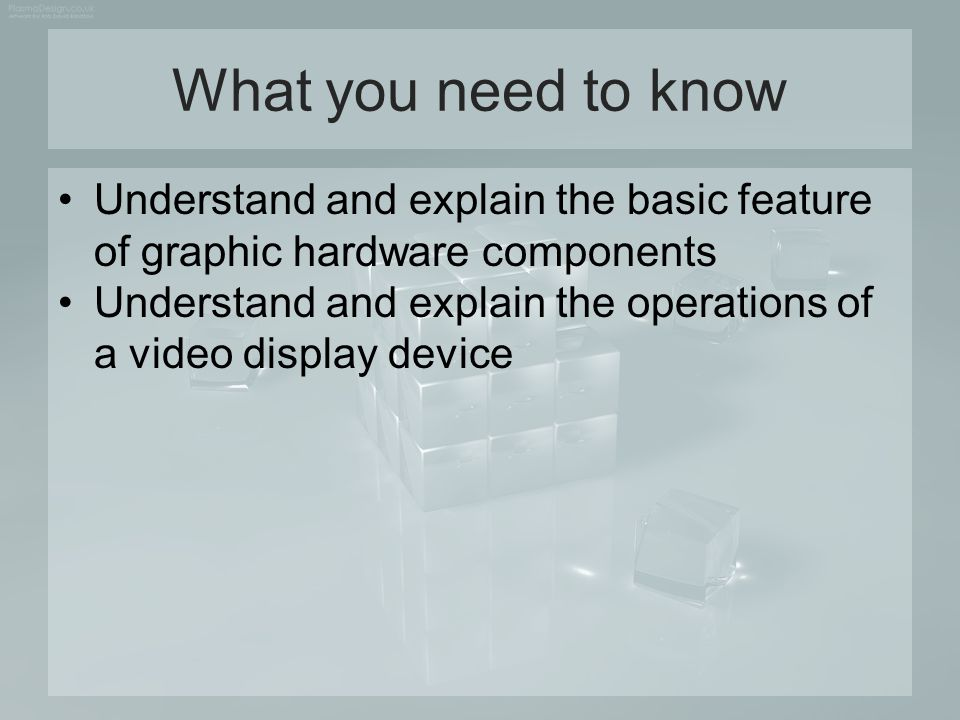 Video Display Device It is a primary output device in a graphics system Most video monitors is based on the standard cathode-ray tube (CRT) design Type of graphics monitor employing a CRT –Raster-Scan Display –Random-Scan Display Other monitor technologies –Flat-Panel Display –Plasma-Panel –Thin-film electro-luminescent Display